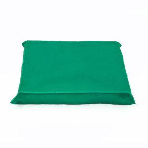 Green satin cushion.