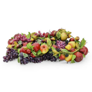 Faux bundle of fruit including a mixture of apples and berries. Realistic size and look.