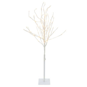 White twig tree with warm LED white lights. 120cm tall.