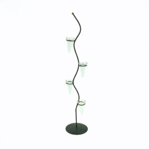 Tall spiral iron candelabra with 4 votive holders for use as a creative table centrepiece or creative addition to styling an event. 90cm tall.