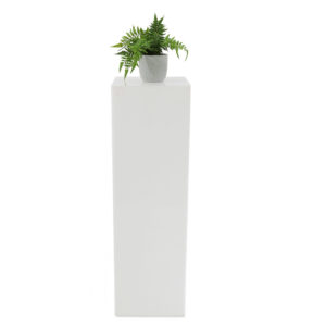 White perspex plinths. They can be used as an effective source of lighting at your event. Additionally, they can be used as simple but stunning display stands to showcase a striking floral arrangement, highlight awards or statues or even showcase products. 100cm tall x 30cm square top.
