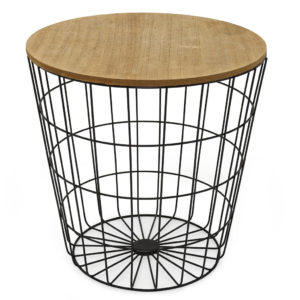 Wire basket coffee table.