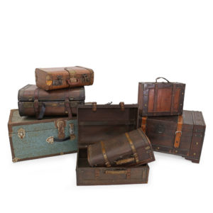 Set of vintage brown suitcases. 