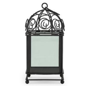 Black iron glasshouse lantern centrepiece. 30cm(h) x 14cm(w) x 14cm(d).