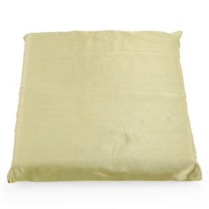 Gold satin cushion.