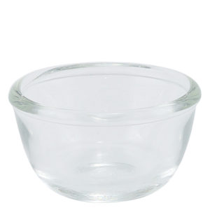 Clear glass ramekin.