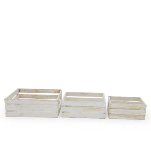 White timber box set of 3.