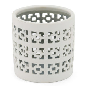 Ceramic white cut out tealight candle holders.