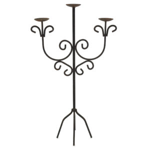 Black iron 3 prong candelabra - 95cm tall.