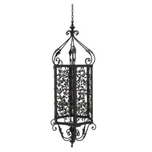 Black decorative wrought iron chandelier. 100cm high.