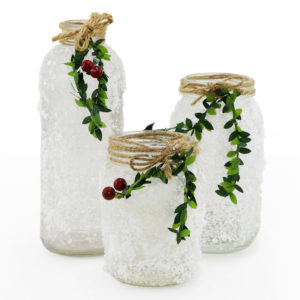 Decorative Christmas themed jars. For table centrepieces.