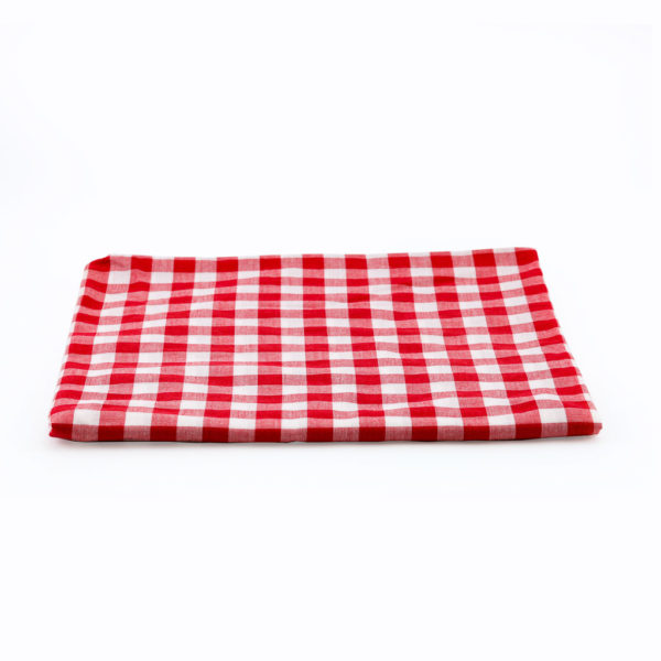 Red and white checkered overlay. 112cm x 112cm.
