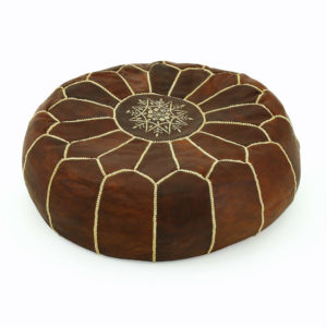 Leather round Moroccan cushion.