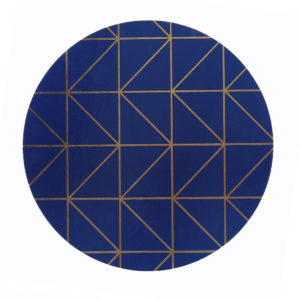 Navy placemat with gold geometrical design.