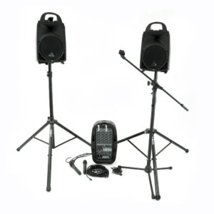 Battery operated PA speaker system. 