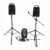 Battery operated PA speaker system.   Package includes: P.A  Microphones x 2 Microphone stand x 1 Power cable x 1 Auxillary cable x 1 Batteries AA x 1 pack (back up for microphone)