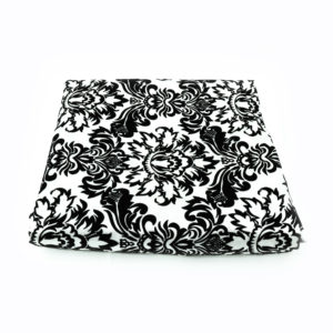 Black and white round table cloth with an elegant damask pattern. 3m x 3m.