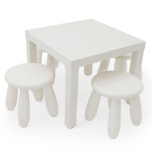 Small white plastic children's table with two matching plastic chairs.