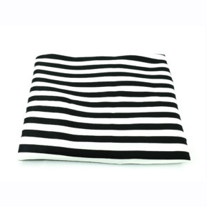 Black and white satin registration table cover.