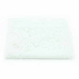 White lace registration table cover.