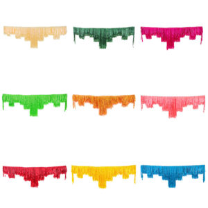Set of nine multicolored decorative fringing. Great for elaborate ceiling draping, backdrops or styling.