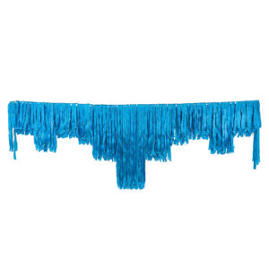 Blue satin decorative fringing.