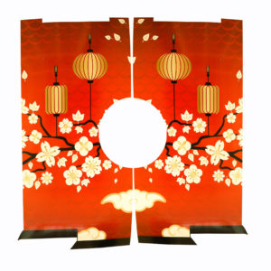 Large corflute Japnese themed entryway. Red background with white cherry blossoms and gold lanterns.