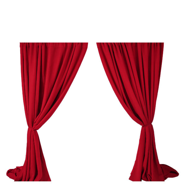 Red curtain backdrop.  2 x 3m curtains - can be used as a black backdrop or from a grand entrance.