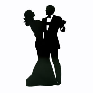 Large corflute signs with silhouette of lady and man dancing.