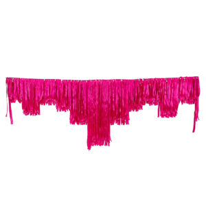 Bright pink satin decorative fringing.