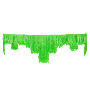 Lime green satin decorative fringing.
