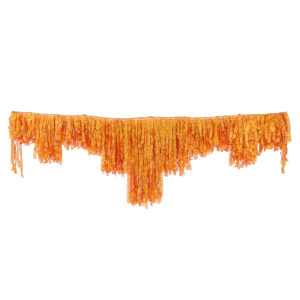 Rust organza decorative fringing.