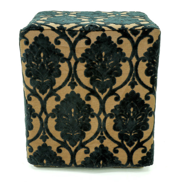 Brown and black Damask ottoman covers.