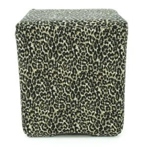 Leopard print lycra ottoman.