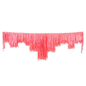 Pink satin decorative fringing.