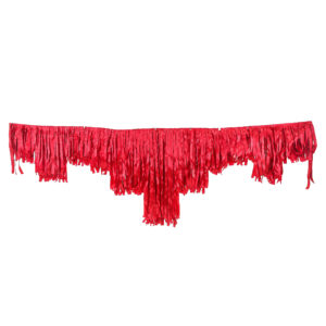 Red satin decorative fringing.