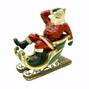 Santa in red and gold sleigh.