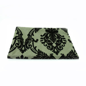 Damask registration table cover. Brown and black.