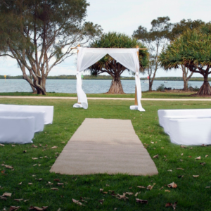 2 post bamboo arbour with white draping.
