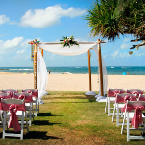 4 post bamboo arbour with white draping.  Can be used with a matching white cover or just white draping.