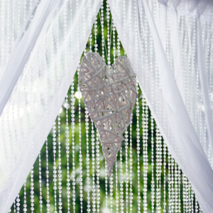 Hanging crystal curtain for archway .