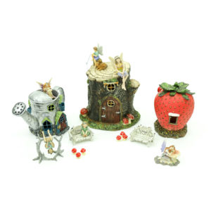 Miniature Fairy House - 3 items: 1. Watering can house.  2. Tree house. 3. Strawberry house.