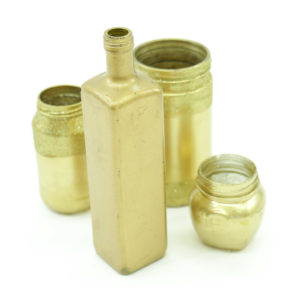 Assorted glass bottles painted gold. Price per bottle.