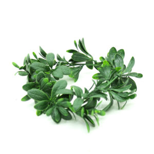 Faux greenery wreath for decorations.