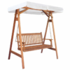 Wooden swing bench seat with canopy.
