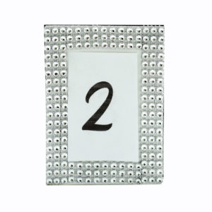 Silver sparkle frame table numbers.