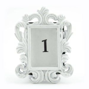White vintage frame used to display table numbers.