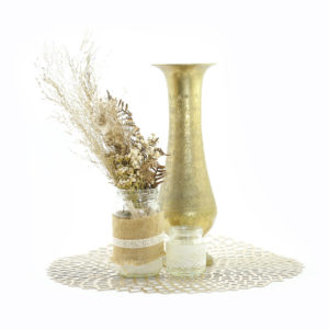 Vintage brass and dried floral centrepiece.