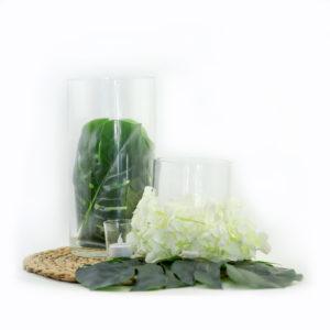 Tropical leaf centrepiece.