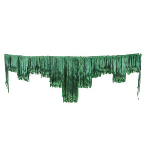 Dark green satin decorative fringing.